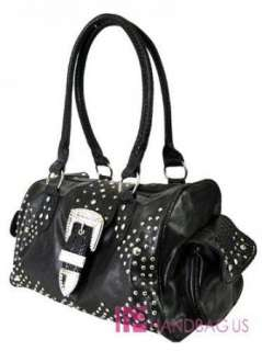 NWT WESTERN RHINESTONE BELT PURSE TOTE HANDBAG BLACK