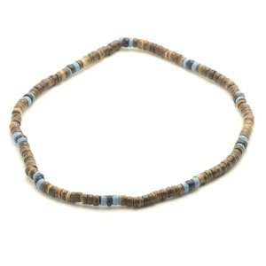 Thin brown blue wood bead tribal surf hippie necklace by