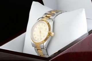 Mens Rolex Two Tone Gold Diamond Dial Datejust Watch