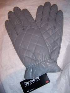 Ladies Quilted Leather Gloves Thinsulate