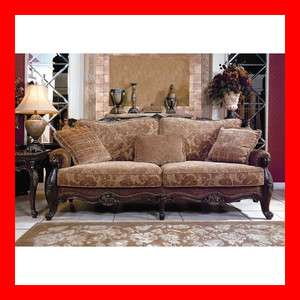 Floral Solid Wood Fabric Sofa Loveseat 2 Pc Living Room Set