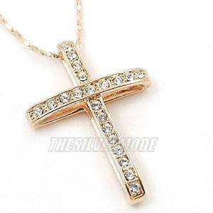 18K Rose Gold Plated Cross Pendant Necklace 10892