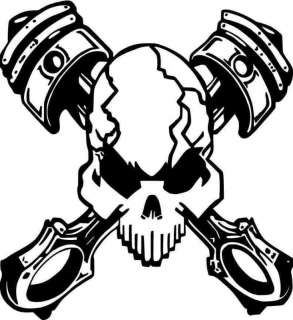 PISTONHEAD Skull DECAL 4x4 Rat Rod mopar harley