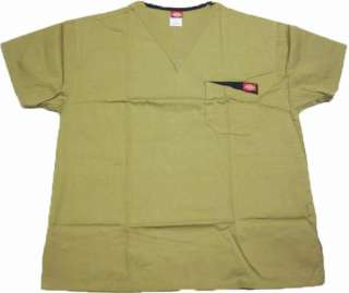 Dickies Medical Scrubs Tops   Khaki V Neck Style 10103C