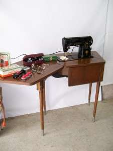 Singer Sewing Machine Model 301 with Spinet Cabinet & Attachments