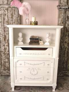 Cottage Chic White Dresser Highboy 4 Drawer Shelf French Vintage Style