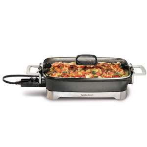 Hamilton Beach 12 x 16 Non Stick Electric Skillet, Lid latches onto