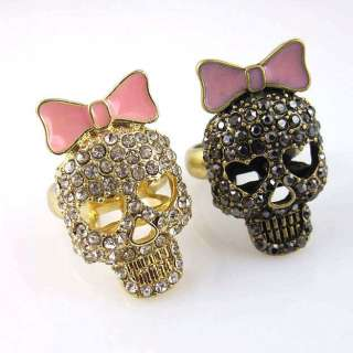 Sparkling Rhinestone Pink Bow & Hollow Skull Ring Sz 6