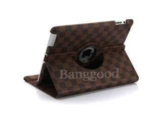 360° Rotating Grid Leather Case Smart Cover With Swivel Stand For