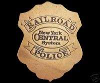 NEW YORK CENTRAL RAILROAD POLICE TRAIN BRASS BADGE