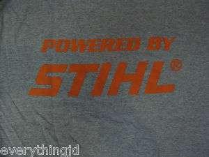 Adult STIHL T Shirt   Grey with Orange Powered by STIHL on Back