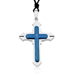 Ziovani 2 tone The Lords Prayer Geometric Cross Stainless