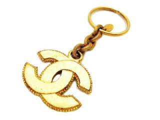 Authentic vintage Chanel keychain key ring gold CC double C logo chain