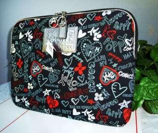 coach poppy graffiti laptop case sleeve bag style no 60788 100 %