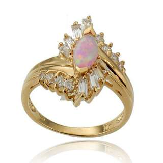 New Pink Opal Simulated Gold Plate 925 Sterling Silver Womens Fashion