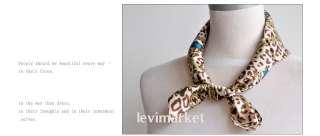Leopard Stripes 100% Silk Paint Square Scarf Wrap Shawl