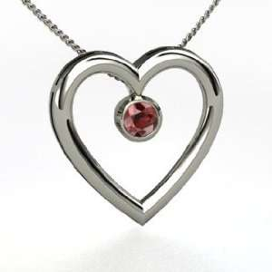 Inside My Heart Pendant, Round Red Garnet Sterling Silver