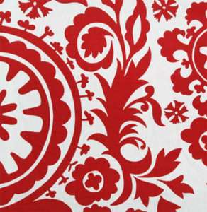 Drapery Upholstery Fabric Bold Retro Print Red & White