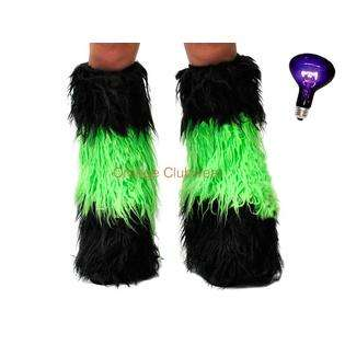 PLEASER Gogo Rave Yeti Black Neon Green Dual Color Gogo Boot Covers