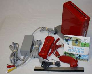 RED Wii Video Game Console System + Bonus WiiSports Game 0045496880354