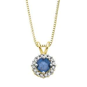 14K Yellow Gold 1/2 ct. Blue and White Diamond Fashion Pendant with