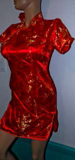 red chinese cheongsam sexy cocktail dress