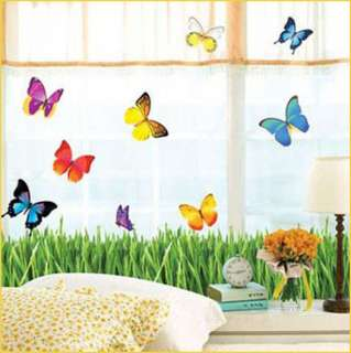 GRASS & BUTTERFLY Decor Mural Art Wall Sticker Decals