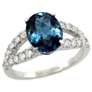 14k White Gold ( 10x8 mm ) Stone Engagement London Blue Topaz Ring w