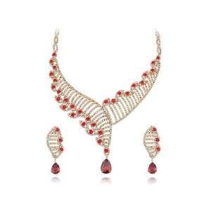Helix Carrier Swarovski Crystal Element Earring Necklace Set Jewelry