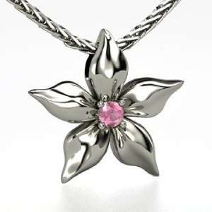 Flower Pendant, Round Pink Tourmaline 14K White Gold Necklace Jewelry