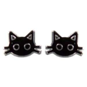 Tomas Sterling Silver Enamel Stud Earrings   Black Cat with Whiskers