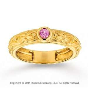 14k Yellow Gold Pink Sapphire Floral Stackable Ring Jewelry