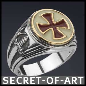 KNIGHTS TEMPLAR MASONIC TEMPELRITTER CROSS SILVER RING