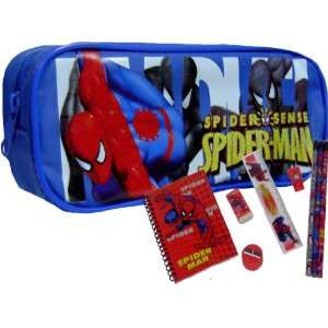 Spider Man Blue Pencil Case + Stationery Set: Office