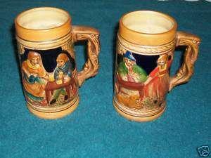 Vintage Beer Steins~Ceramic~Handpainted~Set of 2~Japan!
