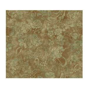 Wallcoverings CG5721 Willow Woods Textured Rose Wallpaper, Brown/Aqua