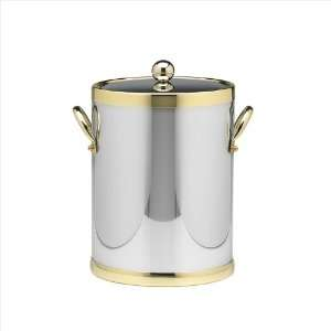 Shiny Chrome And Brass 5 Quart Ice Bucket With Metal Side Handles