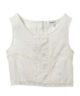 Off White (Cream) Teens Cotton and Lace Button Back Crop Top