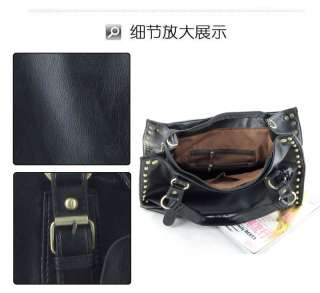 korea simple style rivet women's fashion leather handbag shoulder