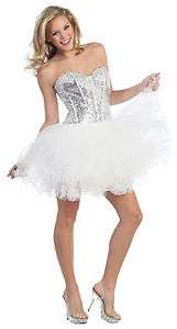 FUN SHORT TUTU PROM SWEET 16 PARTY DRESS SEQUINED STRAPLESS SWEETHEART
