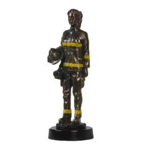 Female Firefighter Antique Brass Statue with Marble Base