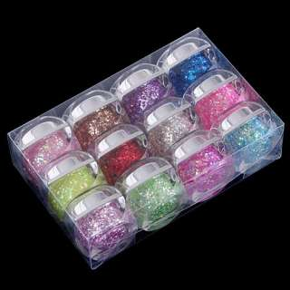 12 Colors Glitter Nail Art UV Gel Shiny Sequins Kit New