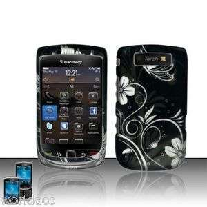 Blackberry Torch 9800 9810 Hard Case Rubberized Black Cover White
