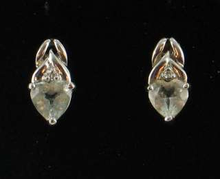 VINTAGE 10K WH GOLD HEART SHAPED AQUA DIAMOND EARRINGS