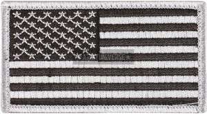 Black & Silver Military USA American Velcro Flag Patch