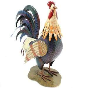 Hand Finished Metal Perched Rooster Statue Figurine