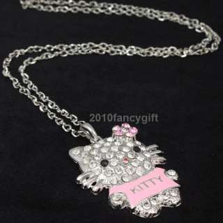 Cute pink T shirt hello kitty cat swarovski crystals girl chain