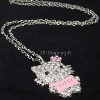 Cute pink T shirt hello kitty cat swarovski crystals girl chain