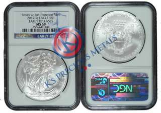 2012 (S) American Silver Eagle $1 NGC MS69 MS 69 Early Releases (Blue