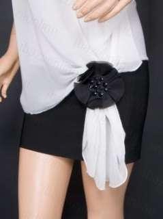 Free Ship Contrast Chiffon Beads Sleeveless Mini Dress